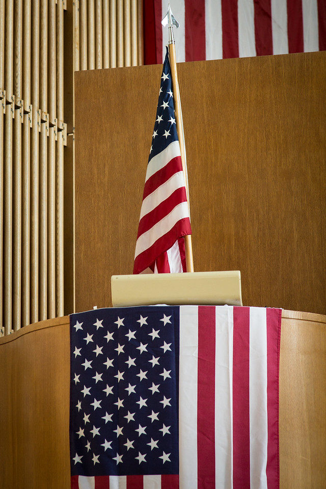 Flags and Pulpit, First Christian Church, Columbus IN