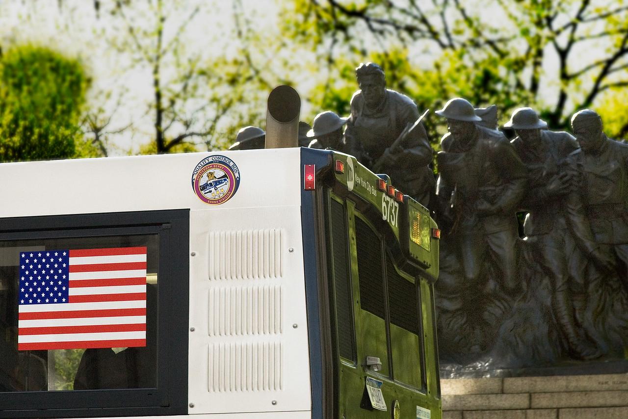 War Memorial and Bus Flag