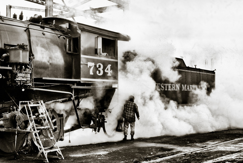Wesstern Maryland Steam Locomotive #734 Being Serviced in Cumberland Maryland