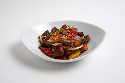 Wok de carne y vegetales