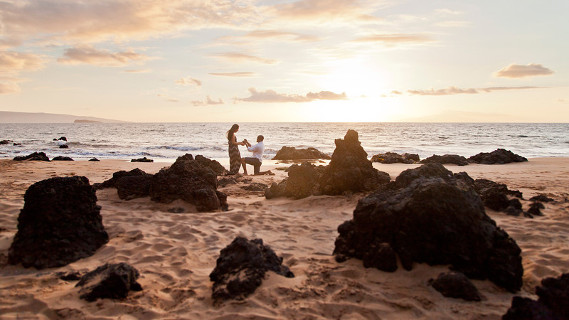 Maui Beach Proposal at Sunset