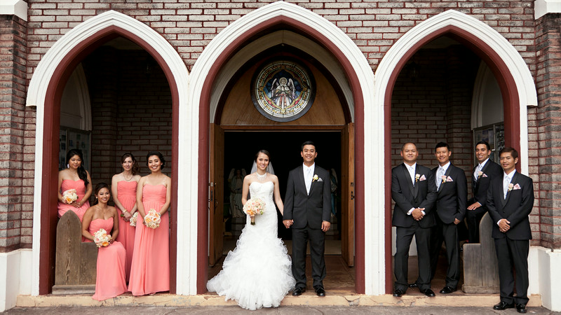 Paia Catholic Church with Bridal Party