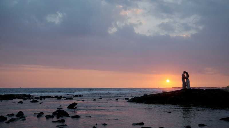 Wedding Photograph of Bride and Groom at sunset in Kona Hawaii