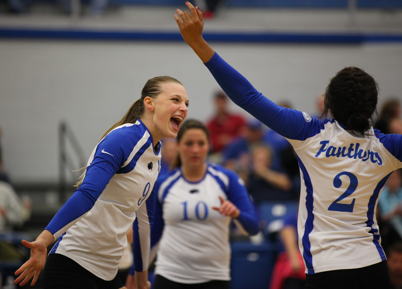 Stephanie Arnold, a red-shirt senior, celebrates scoring a point against UT Martin on Friday, November 1, 2013 at Lantz Arena. The Panters defeated the Skyhawks 3-0.