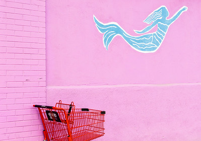 Red Shopping Cart and Teal Mermaid