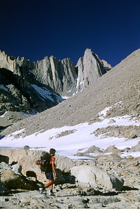 Thru-hiker near the west side of Mount Whitney, Central California