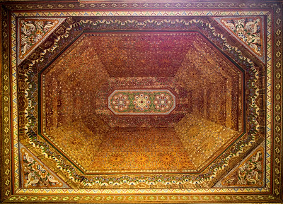 An inlaid chamber ceiling in Le Palais de la Bahia, Marrakech, Morocco