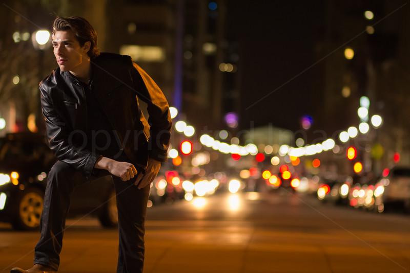 Alex on a busy street