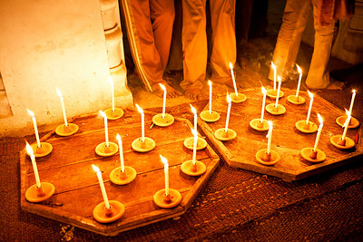 Trays of candles ready to be taken in the Mehndi procession in Bilehra.