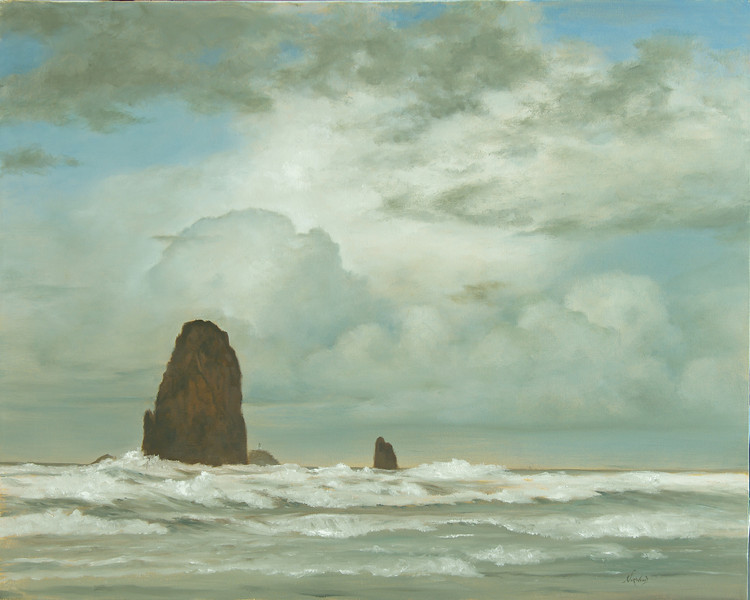 Tillamook Rock Lighthouse Cannon Beach<br /> 24 x 30<br /> Oil on canvas