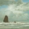 Tillamook Rock Lighthouse Cannon Beach<br /> 24 x 30<br /> Oil on canvas