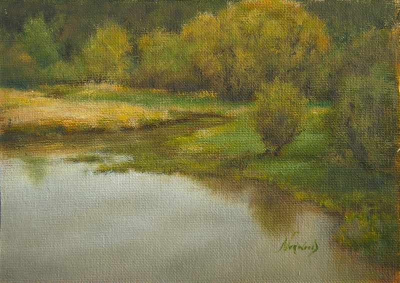 End of the Road - Woodland Bottoms<br /> 5x7 <br /> Oil on canvas panel