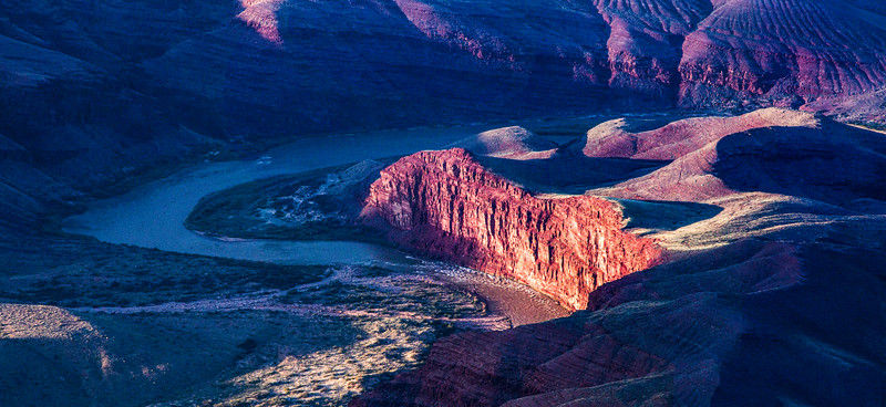 Winding Colorado River in Grand Canyon National Park, Coconino County, Arizona