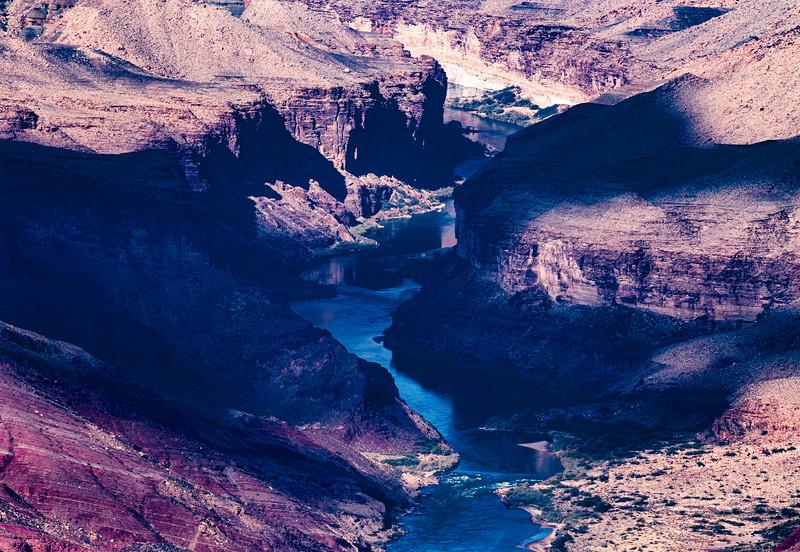 Cloud shadows on Colorado River, Grand Canyon National Park, Coconino County, Arizona
