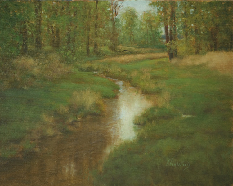 Steigerwald Reflections I<br /> 8 x 10<br /> Oil on canvas board