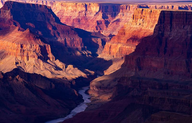 Colorado River cutting through cliffs in Grand Canyon National Park, Coconino County, Arizona