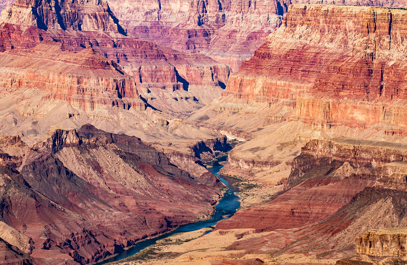 Colorado River cutting through the Grand Canyon, Coconino County, Arizona
