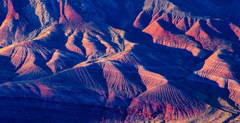 Hills at sunset above the Colorado River, Grand Canyon National Park, Coconino County, Arizona