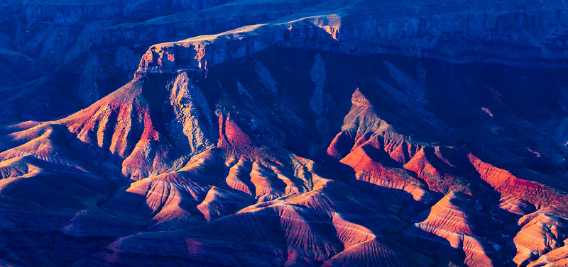 Sunset on cliffs in Grand Canyon National Park, Coconino County, Arizona