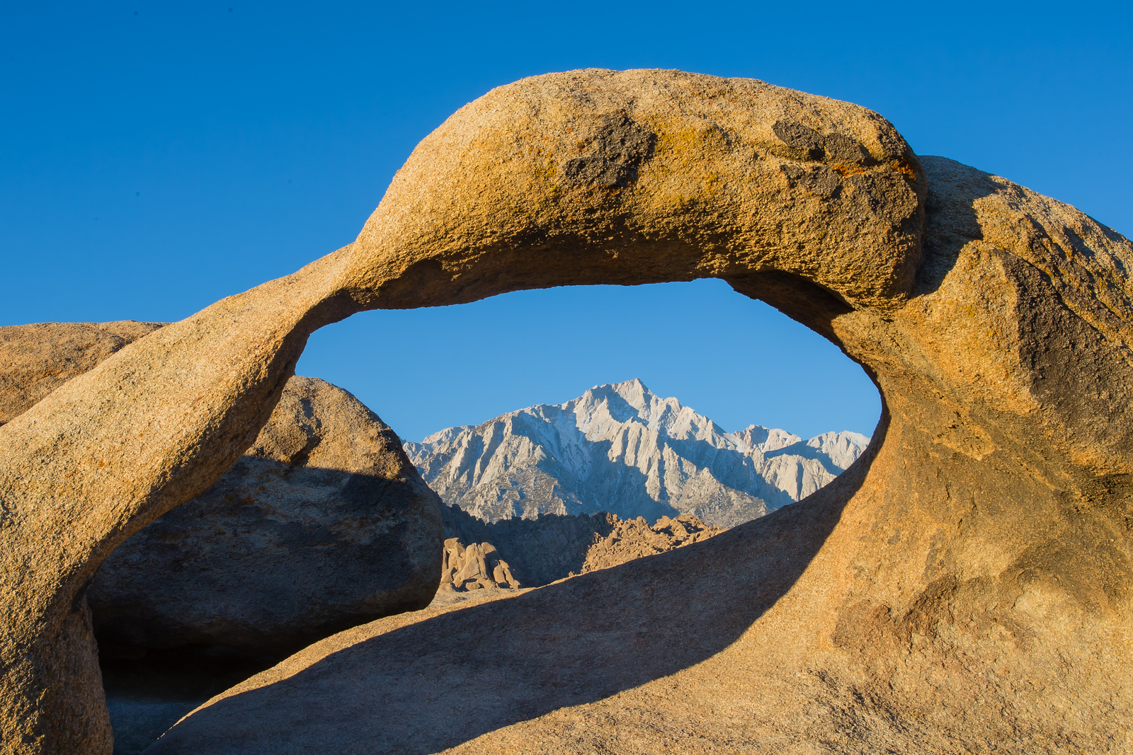 Cathedral peak  through Mobius Arch - Lone Pine, CA, USA