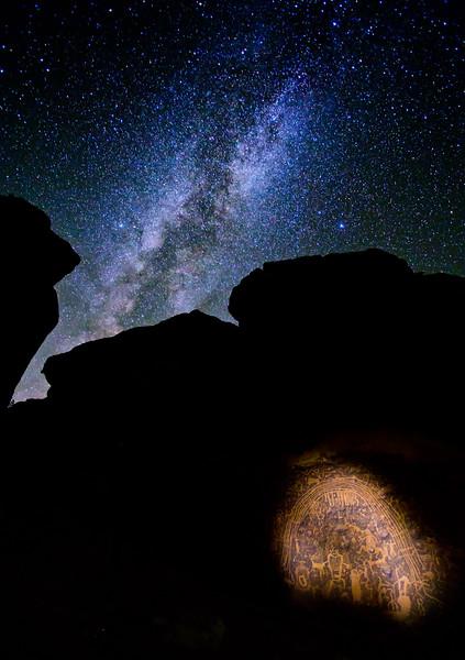 Rochester Creek petroglyphs and the Milky Way Galaxy, Molen Reef, Greater San Rafael Swell, Utah