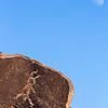 Hohokam petroglyphs beneath the moon, Sonoran Desert, Arizona