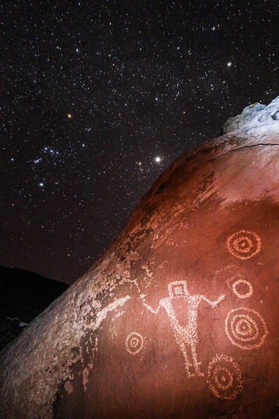 [Old Archive Photo] Fremont petroglyphs with Orion, Belgeuse, & Jupiter (?), Greater San Rafael Swell, Utah