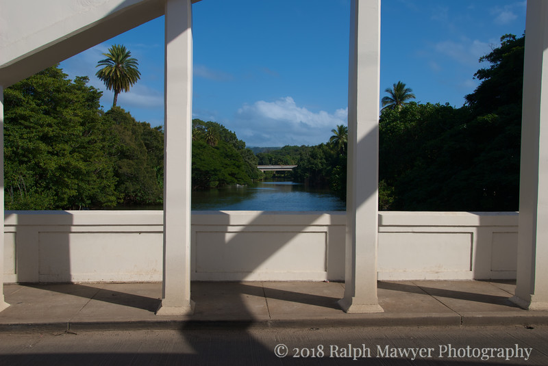 The Anahulu Bridge, also known as the Haleiwa Rainbow Bridge, North Shore, Oahu, Hawaii. The Anahulu bridge is a landmark on the picturesque North Shore.