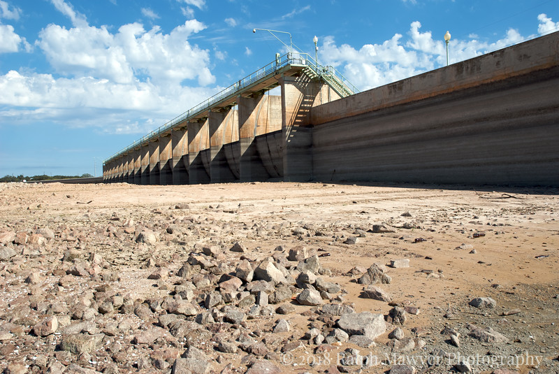 Lake Buchanan, TxBuchanan Dam, completed in 1937, is two miles in width and is the most upstream of multiple dams creating the Highland Lakes north of Austin, Texas. Drought conditions in 2006 provided a rare view of the upstream base of the dam.