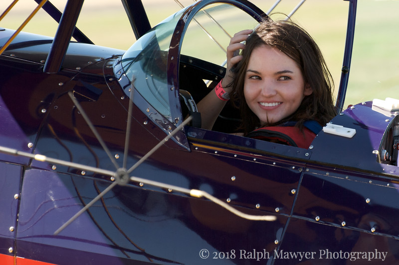 Hillary Jones prepares for a test ride at the 2007 Moonlight Fund airshow in New Braunfels, Texas. Hillary is the daughter of Moonlight Fund cofounder Celia Jones. The Moonlight Fund provides support services for burn victims.