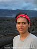 Hiking near live lava flows from Kilauea Volcano. Hawaii Volcanoes National Park.
