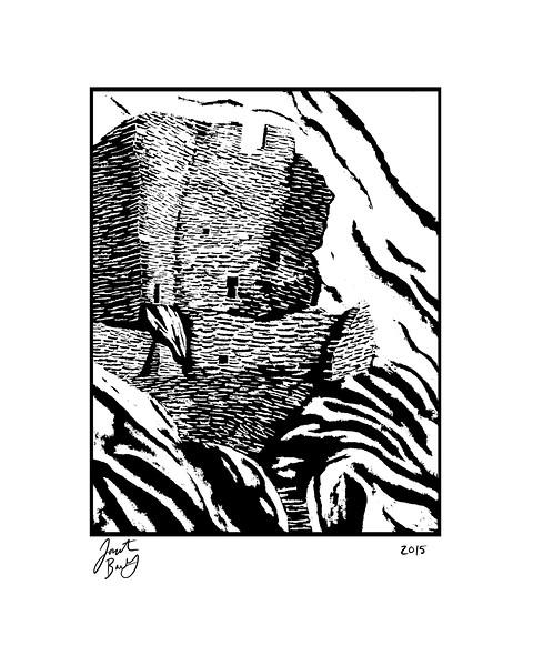River House - Bears Ears, acrylic block painting, 2015
