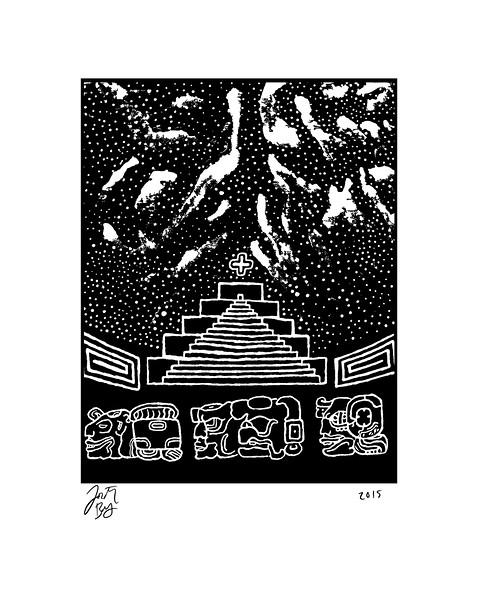 Mesoamerican Night, acrylic block painting, 2015