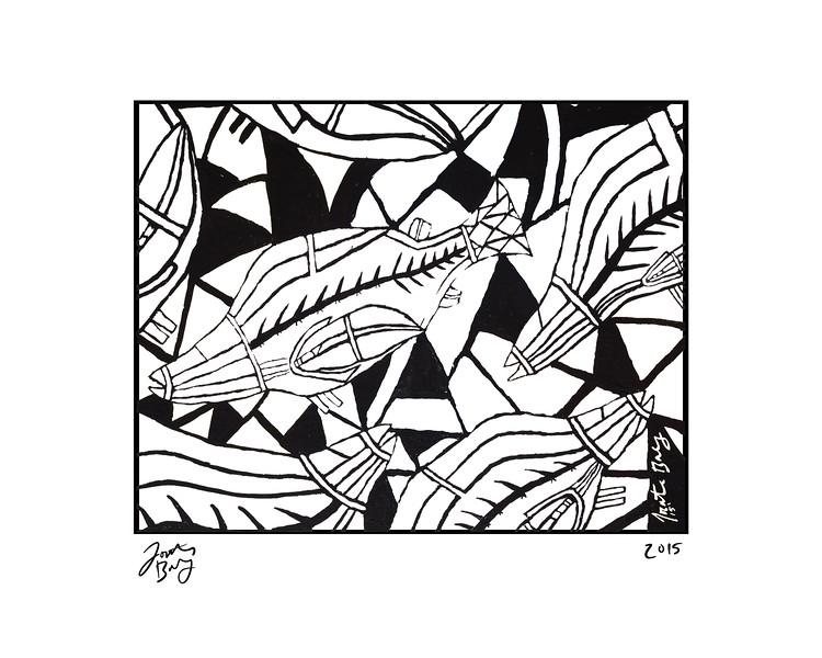 Fish, acrylic block painting, 2015