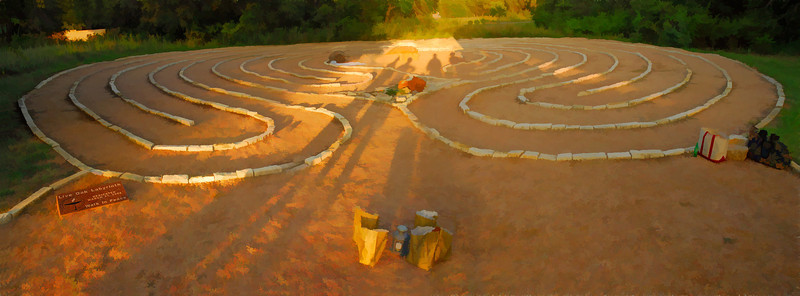The labyrinth at Live Oak Unitarian Universalist Church in Cedar Park Texas.  It's a five shot panorama using an 18 mm lens on a Nikon D300.