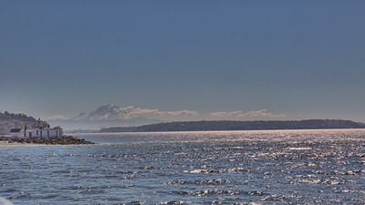 View Of Mount Rainier And A Lighthouse