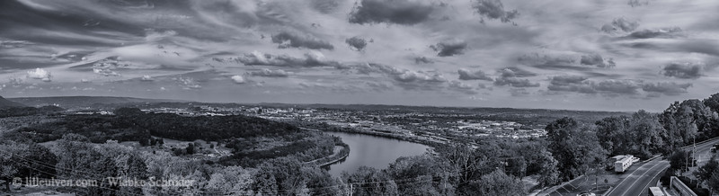 Looking over Chattanooga from Lookout Mountain (Panorama, Cyanotype)