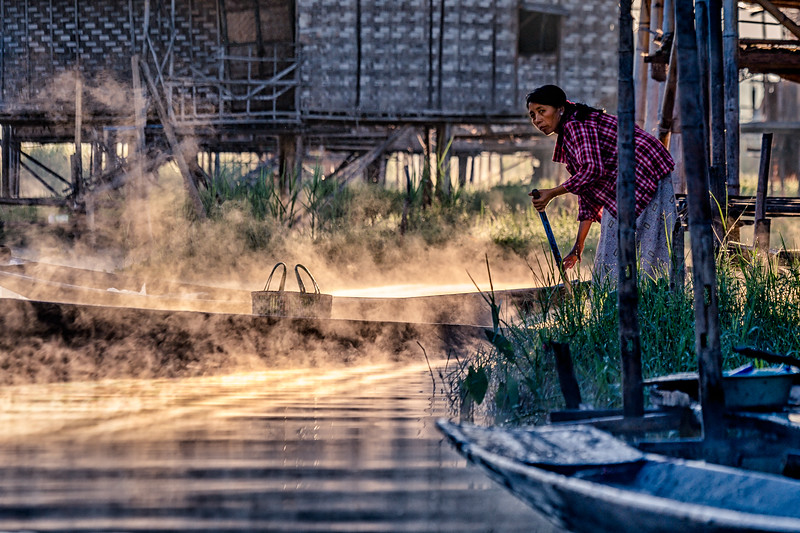 Morning chores at Inle Lake, Myanmar