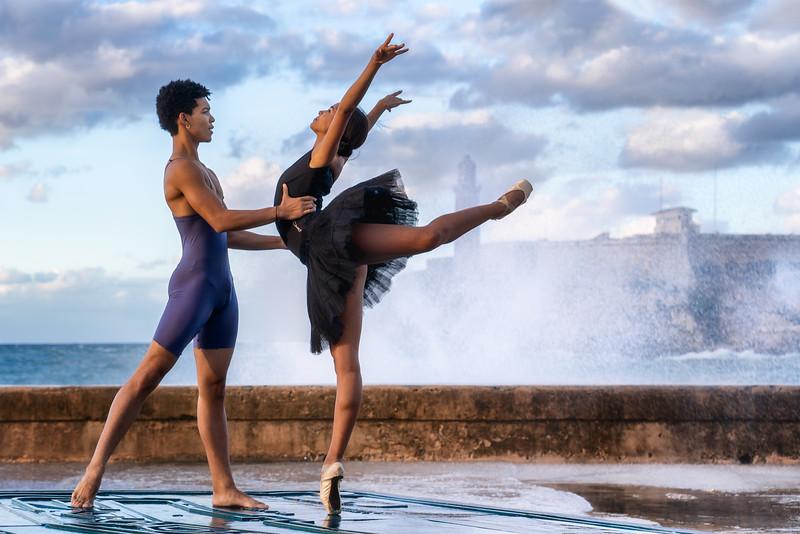 Ballet duo at the seawall in Havana, Cuba