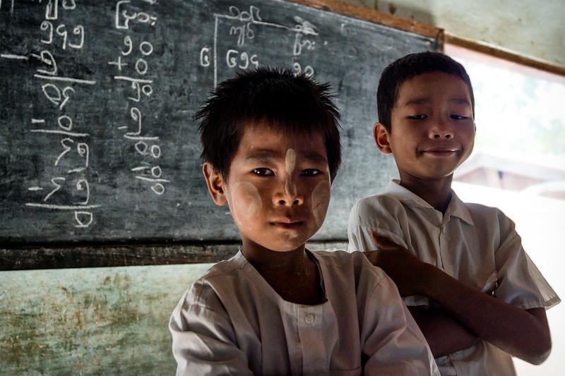 Boys at a schoolhouse in Bagan, Myanmar