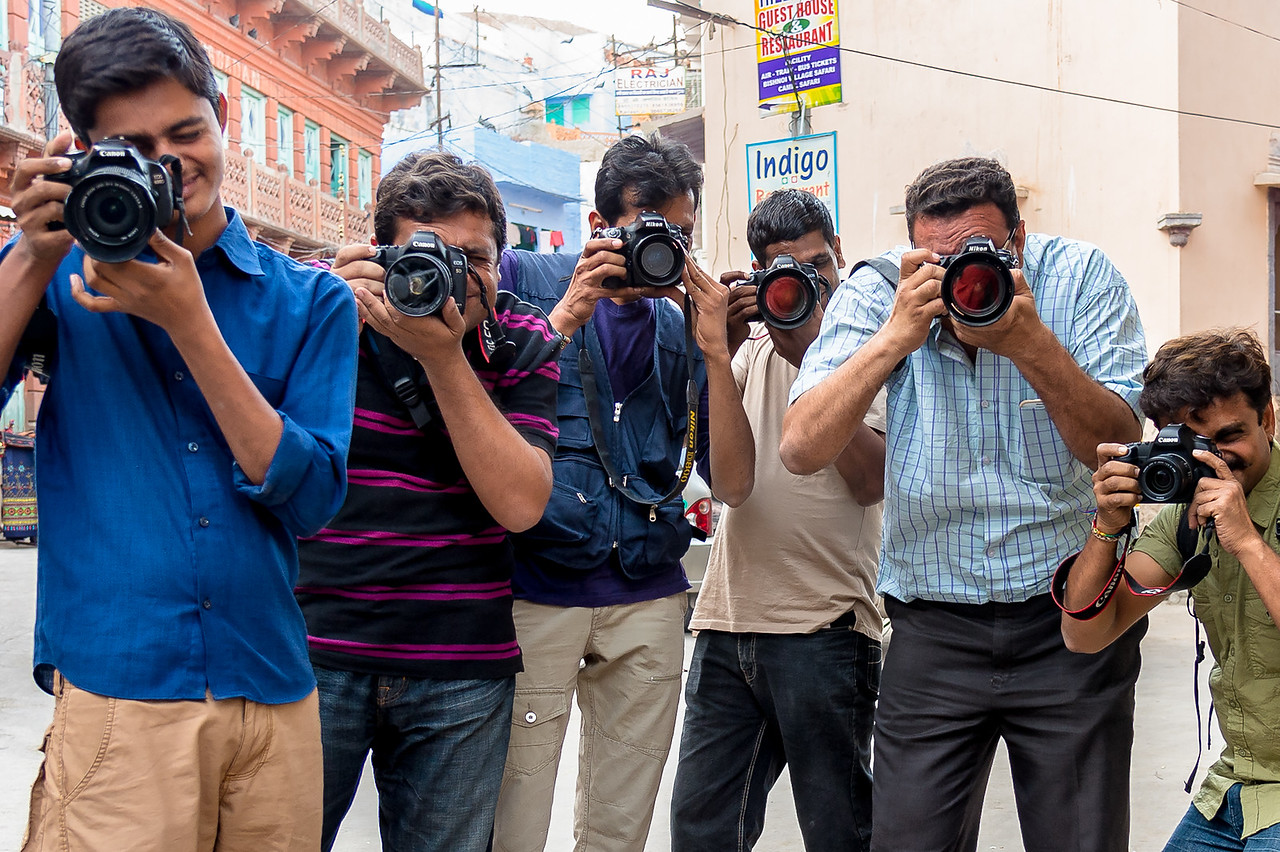 A moment of fun shared with Indian photojournalists in Jodhpur