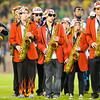The Leland Stanford Junior University Marching Band plays the national anthem while the nation's colors are displayed. The No. 3 Oregon Ducks play the No. 5 Stanford Cardinal at Stanford Stadium in Stanford, Calif. on Nov. 7, 2013.