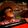 Marcel Allen, a 13 year rodeo rider from Salem, takes in his first views of Matthew Knight Arena during the Professional Bull Riders Pro Rodeo in Eugene, Ore. on Feb. 2, 2013. Allen has 2 years of rodeo experience under his belt.