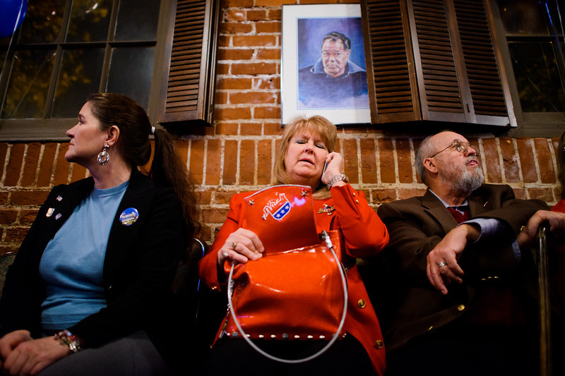 "After President Obama was re-elected for a second term during the Eugene Republican Presidential election watch party, Elisa Later speaks to her son Jason, 32, currently living in Alvin, Texas. Later, a Texas native herself, called home to share her disappointment with the election results with her brother and son. ""[There are] a lot of disappointed folks,"" she lamented, ""we worry that there won't be another Republican president after this [election]. It's a sad day in history. We're hoping that Texas will secede."""
