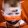 Eight year old Tanner Thompson of Redoak, Texas, awaits the team arrival of his Longhorns. The No. 10 Oregon Ducks play the Texas Longhorns in the Alamo Bowl at the Alamodome in San Antonio, Texas on Dec. 30, 2013.