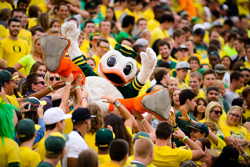 The Duck crowd surfs in the student section in Autzen Stadium as Oregon heads to the halftime with a 38-7 lead. The No. 2 Oregon Ducks play the Tennessee Volunteers at Autzen Stadium in Eugene, Ore. on Sept. 14, 2013.