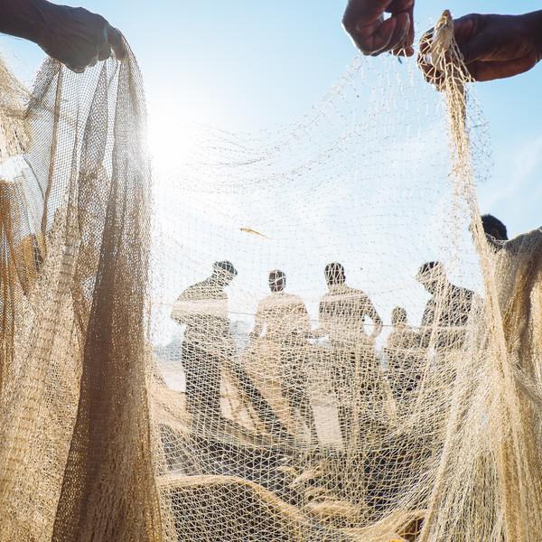 Kollam Beach, Fishermen at work