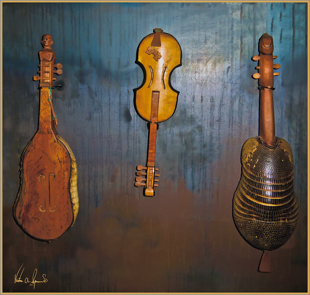 """ECUADORIAN MUSICAL INSTRUMENTS"" - AT THE MINDALAE HISTORY MUSEUM IN QUITO, ECUADOR IN THE EARLY EVENING OF NOVEMBER 25, 2011"