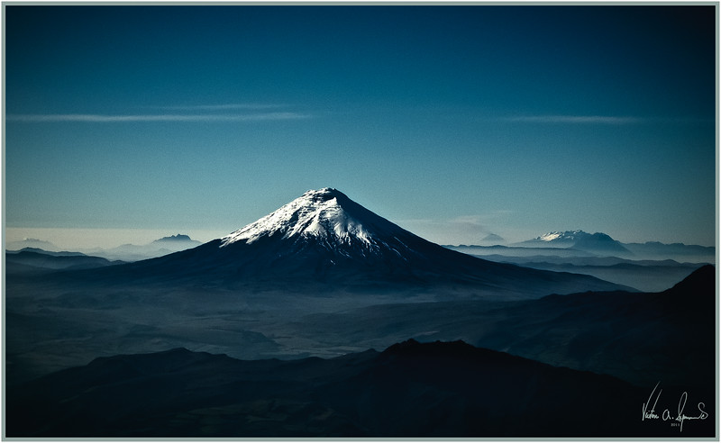 """""""FROM THE AIRPLANE"""" - IN COLOR OF THE ANDES MOUNTAINS ENROUTE FROM QUITO TO THE GALAPAGOS ISLANDS, ECUADOR IN THE EARLY MORNING OF NOVEMBER 21, 2011"""