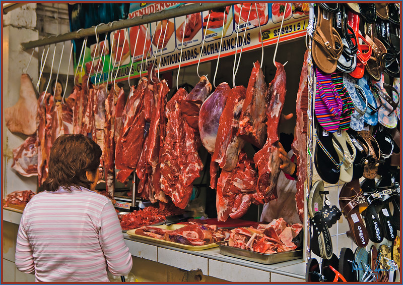 """SHOES AND MEAT .......... OF COURSE!"" - LIMA, PERU ON NOVEMBER 13, 2011 AT A FARMER'S MARKET"